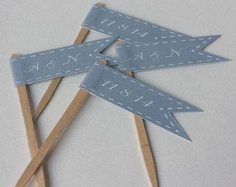 Grey Wedding Cupcake Flags - Monogram Initials - Wedding Date - 1 Dozen
