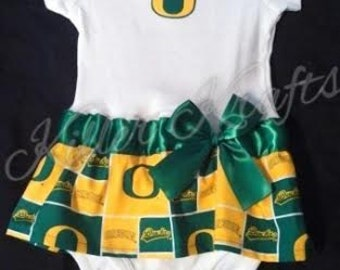 Oregon Ducks inspired baby girl outfit