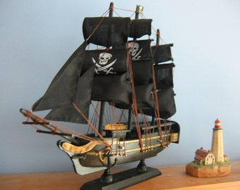 "Wooden Ship Model PIRATE SHIP with Jolly Rogers 13"" Long FULLY Assembled Gold Trim"