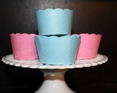 12 Glitter Pink and Blue Cupcake wrappers