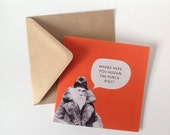 Sale - Santa Father Christmas Mince Pies Orange Red Square Eco Friendly Greeting Card