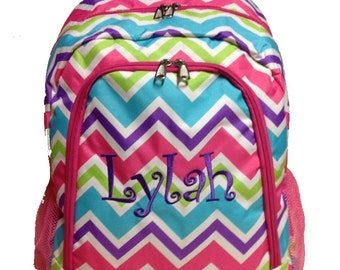 SALE Personalized Multi Color Chevron Backpack Girls Booksack Pink Trim Zig Zag Full Size School Backpack Monogrammed Free