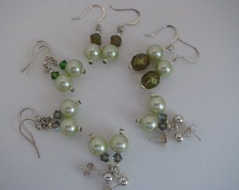 Green Pearl Earrings, Bridesmaid Accessory, Soft Green, Muddled Green