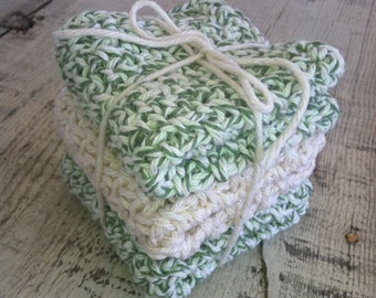 Crocheted Dish Cloths -  3 medium and double thick,  100% cotton, natural unbleached cotton, sage green