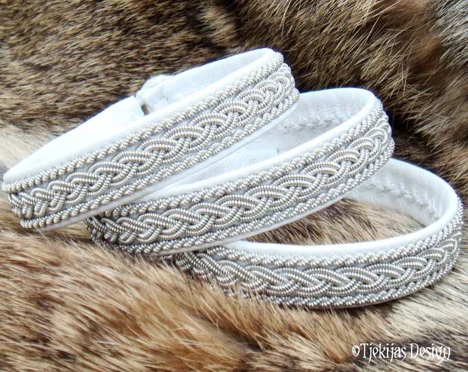 Swedish Lapland Sami Bracelet MJOLNIR in White Reindeer Leather, Pewter Braids and Antler Button - Handcrafted Natural Tribal Elegance