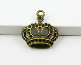 20Pcs Antique Brass crown Charm crown Pendant 22x22mm (PND655)