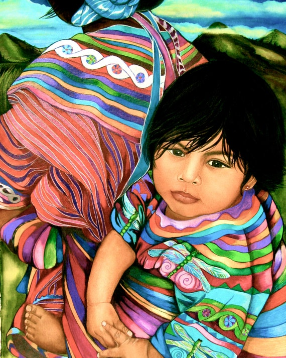 Baby in a sling reboso from guatemala high lands art print