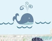 Blue Whale Wall Decal - Whale Fabric Wall Decal Set - Gender Neutral Whale Theme - Kids Nursery Whale Art - Reusable Wall Decal Sticker