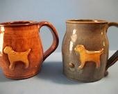 Yellow lab mug, wheel thrown pottery, shino brown