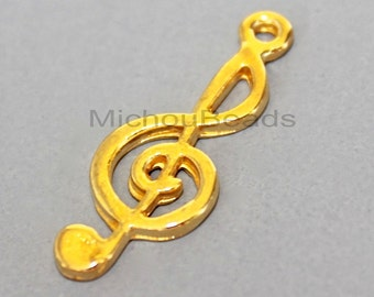 5 Bright GOLD 26mm Treble Clef Charm - 26x10mm MUSIC Note Charm Long Pendant - 5905