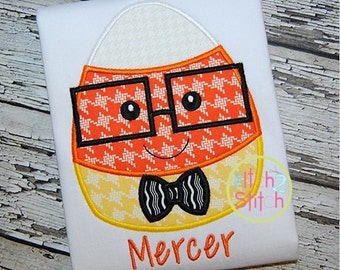 Halloween Cute Candy Corn with Glasses Boy or Girl - Appliqued and Personalized