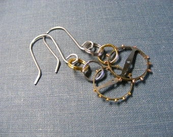 Steampunk 3 Earrings: Mixed Metal Gears