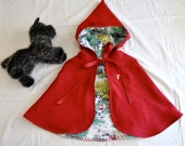 Made to Order Little Red Riding Hood Wool Blend Cape. Sizes 2/3, 4/5,