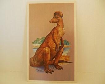 Vintage Dinosaur Flash Card Color Paper Ephemera Corythosaurus 70's (item 12)