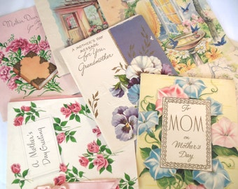 Vintage (7) Mother's Day Cards Paper Ephemera Used 1949- 50's(item 12)