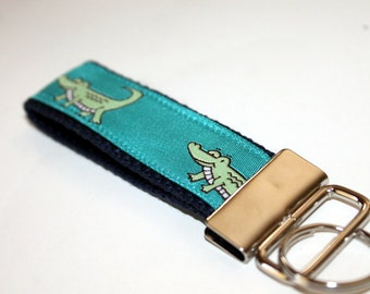 Alligator Key Chain Crocodile Key Chain Turquoise Key Fob Summer Key Fob Teacher Gift Gator Key Fob Preppy Key Chain