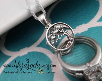 AloraLocks Cypress Tree Wide Wedding Ring Holder Pendant - Sterling Silver