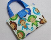 Crayon Wallet/ Blue Monkey Print. Free USPS First Class Shipping /Ready to Ship