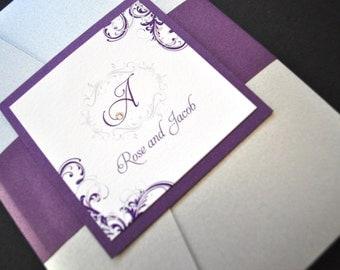Pocket Wedding Invitations, Wedding Invitations, Invitations, Weddings, Pocketfold, Purple, Silver, FREE rsvp envelope printing