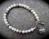 "Freshwater Pearl Bracelet with Silver Filigree Heart Charm and Toggle Clasp 7 1/2"" Wedding Jewelry Bridesmaid Gift"