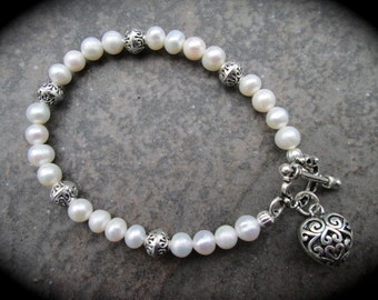 "Freshwater Pearl Heart Bracelet with Silver Filigree Charm and Toggle Clasp 7 1/2"" Wedding Jewelry Bridesmaid Gift"