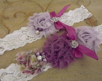 Rustic Wedding Garter/ Shabby Garter Set /WHITE lace garter set/ Lavender Wedding Garter Belt / Purple Bridal Garter