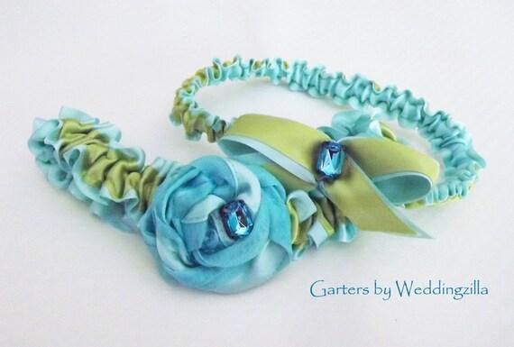Aqua Blue and Apple Green Wedding Garter Set
