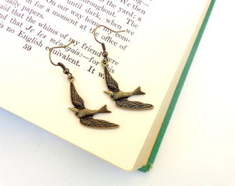 Soar.  Soaring Bird Brass Earrings.