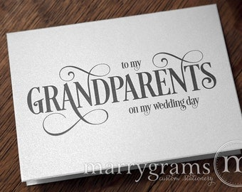 Wedding Card to Grandparents of the Bride or Groom Cards, Grandmother, Grandfather - To My Grandparents on My Wedding Day Thank You CS06
