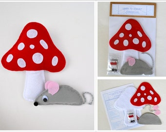 Learn to Sew Kit for Kids - Red Spotted Toadstool and Grey Field Mouse