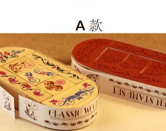 Wooden Rubber Stamp Box Set - Retro Deco Floral Pattern - A - 8 Pcs