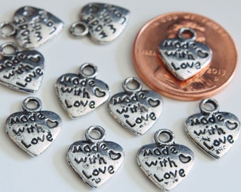 20 pcs of Tibetan Antique Silver 'Made With Love' Charms Pendants Jewelry Pendants (12x10MM)