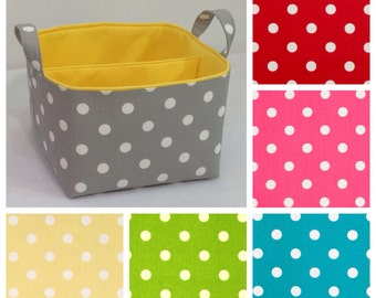 """LG Diaper Caddy 10""""x10""""x7"""", Fabric Storage Bin, Basket You Choose Polka Dot and Solid Lining Colors"""