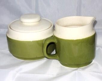 Avocado Green Creamer and Sugar Set 1970's