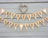 HAPPILY EVER AFTER burlap banner with white glittered hearts, wedding garland