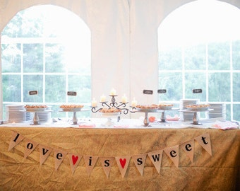 Love is sweet burlap banner with red hearts, lowercase, wedding garland