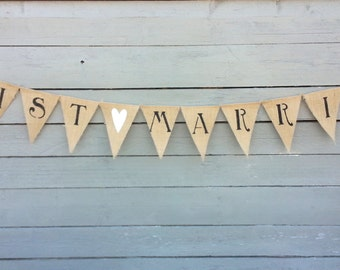 Just Married Burlap Banner with White Glittered Heart, Wedding Garland