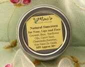 Mac's All Natural Sunscreen, for Face, Nose, and Lips SPF approx 30+, in 3 Sizes