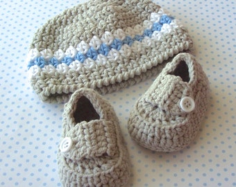 Baby Boy Hat, Baby Loafers, Crochet Baby Beanie, Crochet Baby Shoes, Baby Boy Booties, Infant hat, Size 3 to 6 Months