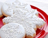 Large Silver Snowflake Cookies - 1 doz - Winter Wedding - Bridal Shower - Baptism