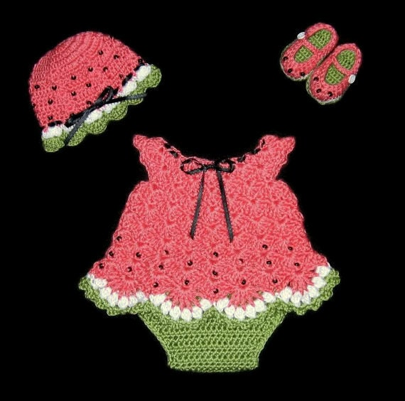 Watermelon Baby Girl Dress Set Newborn Baby Outfit Layette Set Knit Baby Dress Diaper Dress Set Crochet Baby Girl Set Infant dress set