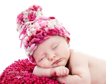 PDF Crochet Pattern - newborn photography prop handspun thick and thin present hat #5