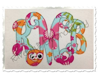 Raggy Vine Monogram Applique Machine Embroidery Font Alphabet - 4 Sizes