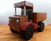 Vintage Handmade Painted Solid Wood Toy Delivery Truck. Inscribed Brass Monkey, Signed G.B.