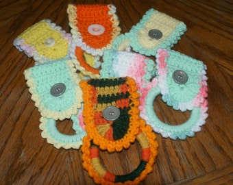 Crochet towel ring  Pick One that is pictured or Pick Your Own Colors