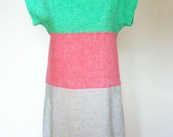 Linen dress bright playful colours summer fashion ready to ship Atumn discount