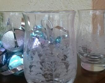Vintage Libbey Christmas Tree Water Tumblers, Glassware, Barware