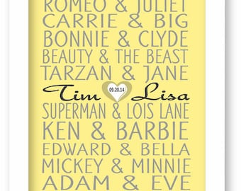 Famous Couples Print, Yellow and Gray, Personalized Couples Gift, Custom Wedding Gift, Bridle Shower Gift