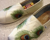 Custom TOMS- Peacock Feathers on Ivory Grosgrain- Shoes Included in Purchase