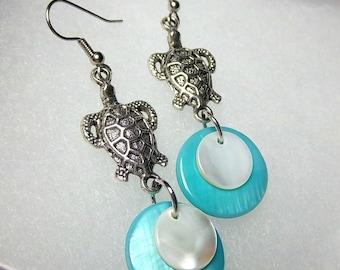 Sea Turtle Earrings, Dangles, Summer Earrings,  Turquoise and Mother-of-Pearl,  Silver Sea Turtles,  Beach Earrings
